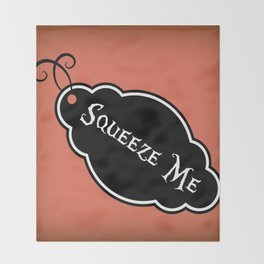 """""""Squeeze Me"""" Alice in Wonderland styled Bottle Tag Design in 'Mad Hatter Melon' Throw Blanket"""