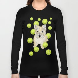 Miss Caroline the Cairn Terrier is Obsessed About Fetching Tennis Balls Long Sleeve T-shirt