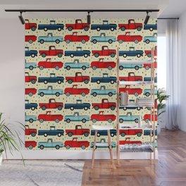 Winter Vintage Trucks Wall Mural