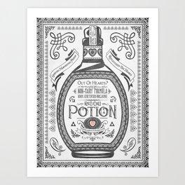 Legend of Zelda Red Potion Vintage Hyrule Line Work Letterpress Art Print