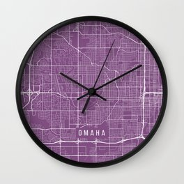 Omaha Map, USA - Purple Wall Clock