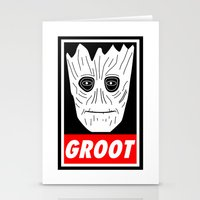 guardians of the galaxy Stationery Cards featuring GROOT - GUARDIANS OF THE GALAXY by YiannisTees