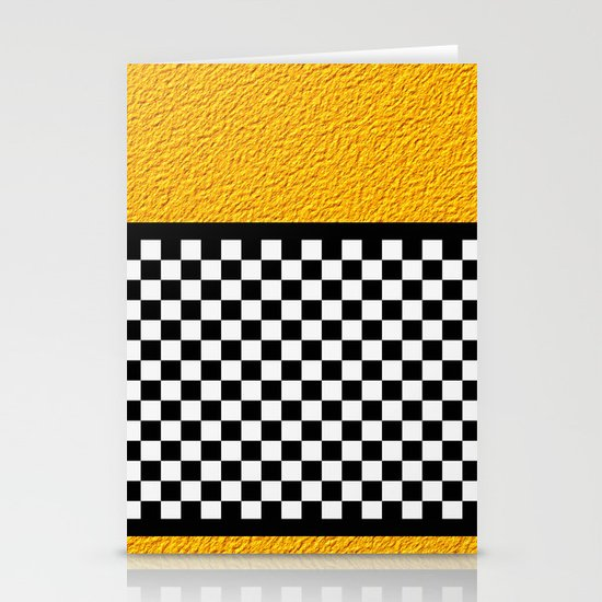 Checkered/Textured Gold Stationery Cards