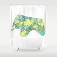 eames Shower Curtains featuring Eames Elephant by Melissa Nocero