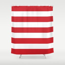Fire engine red -  solid color - white stripes pattern Shower Curtain