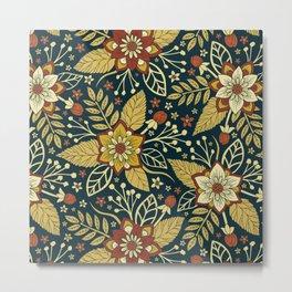 Gold, Rust, Cream & Dark Navy Blue Floral Pattern Metal Print