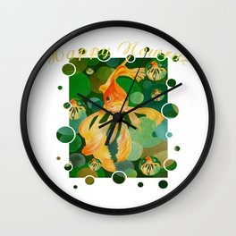 Happy Nowruz Persian New Year Goldfish In Green Sea Wall Clock