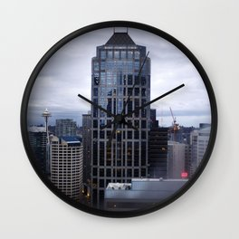 Seattle Skyline and Space Needle on a Cloudy Day Wall Clock