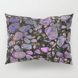 Terrazzo - Labradorite and gold on marble #1 Pillow Sham