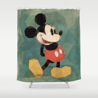 mickey Shower Curtains featuring Mr. Mickey Mouse by Ed Burczyk