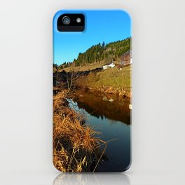 A river, the valley and traditional farmland | waterscape photography iPhone Case