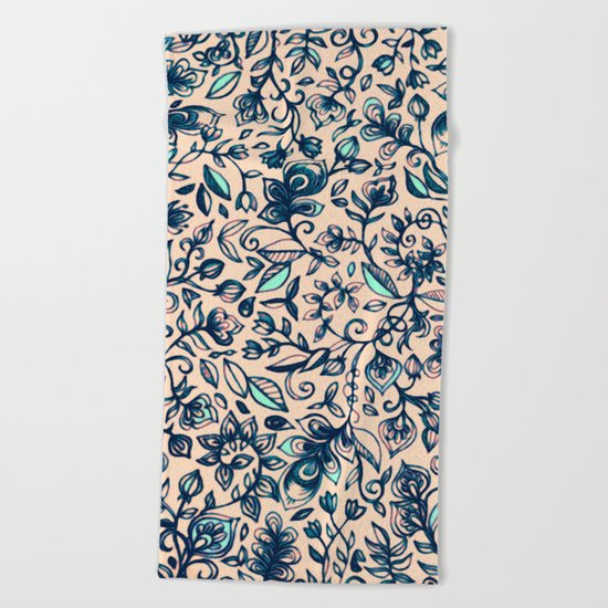 Teal Garden - floral doodle pattern in cream & navy blue Beach Towel