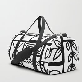 Fishes Seaweeds and Shells - Black and White Duffle Bag