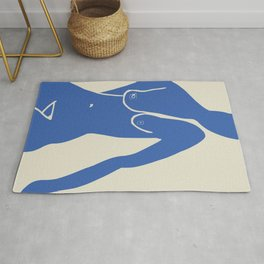 Nude cut out in blue Rug
