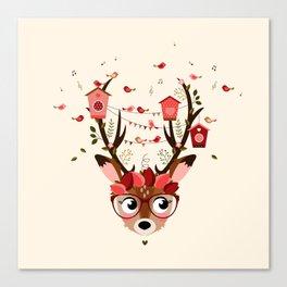 Biche et cabanes à oiseaux (rose) Canvas Print