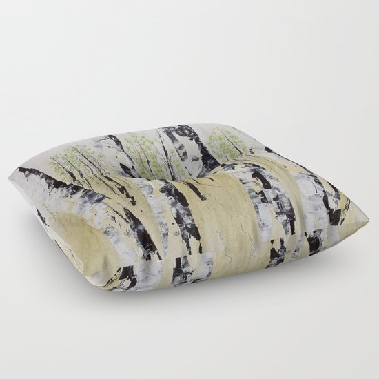 Summer Birch Forest Floor Pillow