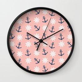 Nautical coral navy blue anchor and wheel pattern Wall Clock