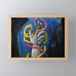 Grey hand with Glow Tubes Framed Mini Art Print