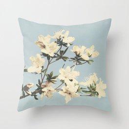 Minimal Art Watercolor Flower Soft Blue Throw Pillow