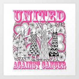 United Against Cancer - Breast Cancer Awareness - Zentangle Women Art Print