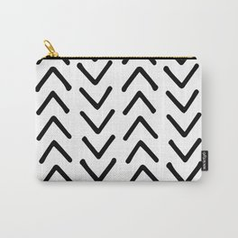 Mud Cloth Big Arrows in  Black and White Carry-All Pouch