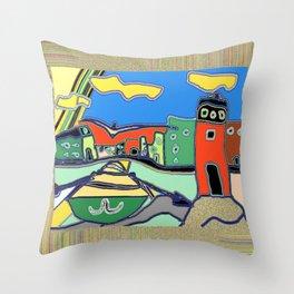 """""""Faro con barca"""" Original Digital Art 2014 Throw Pillow"""