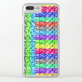 Pixelated colors Clear iPhone Case
