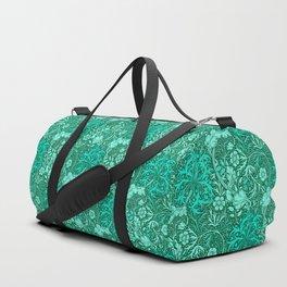 Art Nouveau Seaweed Floral, Turquoise and Aqua Duffle Bag