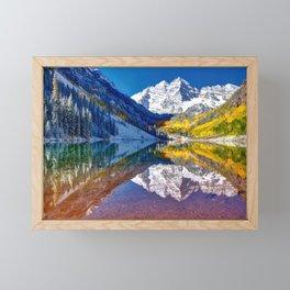 Fall Season at Maroon Bells Panorama Framed Mini Art Print