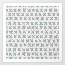 Contemporary X Paint Cross stich Pink Mint Pattern Art Print