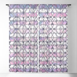 Modern Pink Blue Starry Nebula Tribal Aztec Geometric Sheer Curtain
