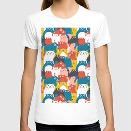 Cats Crowd Pattern T-shirt
