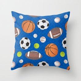 Sports Balls Pattern - Blue  Throw Pillow