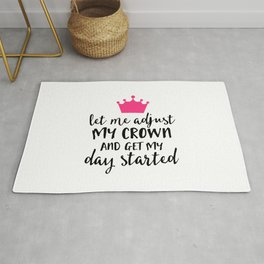 Adjust My Crown Funny Quote Rug