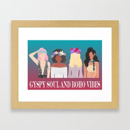 boho girls flower crowns bandana afro pink hair turquoise gypsy soul and boho vibes Framed Art Print