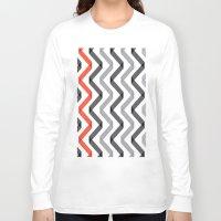 scandinavian Long Sleeve T-shirts featuring Geometric Minimalist Pattern Scandinavian Design by Nordic Print Studio