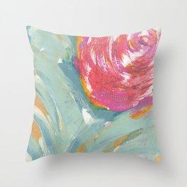 Duck Egg Rose Throw Pillow