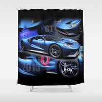 ford Shower Curtains featuring 2015 Ford GT by Andrew Sliwinski