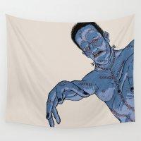 frankenstein Wall Tapestries featuring Frankenstein by ChrisNygaard