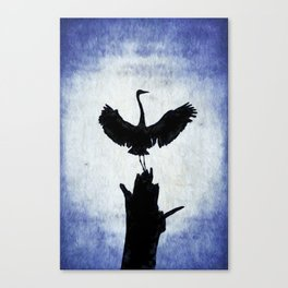 Blue Heron with Wings Spread Canvas Print