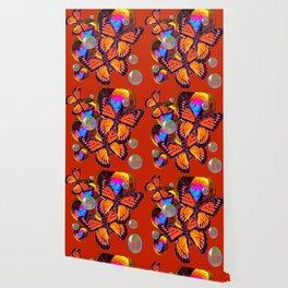 DECORATIVE MONARCH BUTTERFLIES & SOAP BUBBLES  ON TURMERIC  COLOR ART Wallpaper
