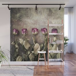 Five dried roses Wall Mural