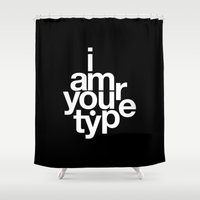 helvetica Shower Curtains featuring HELVETICA! by THE USUAL DESIGNERS
