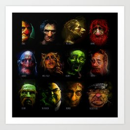 Muppets Noir (with names) Art Print