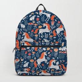 Unicorns, rabbits, birds, flowers. Decorative seamless pattern. Folk art. Backpack