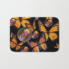 SURREAL MONARCH BUTTERFLIES & IRIDESCENT SOAP BUBBLES ON  BLACK ART Bath Mat