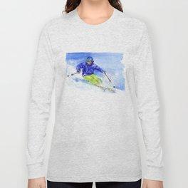 Watercolor skier, skiing illustration Long Sleeve T-shirt
