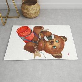 A little bear having a picnic lunch Rug