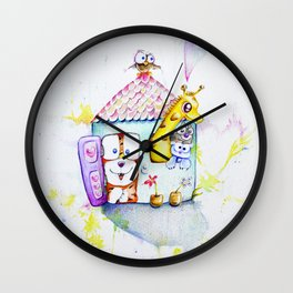 My house, with a splash of color and creatures both big and small Wall Clock