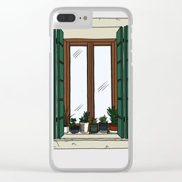 Green Shutters Clear iPhone Case